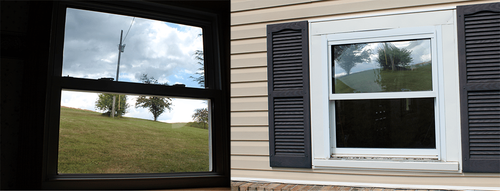 The top pane has solar window film applied, the bottom pane does not.