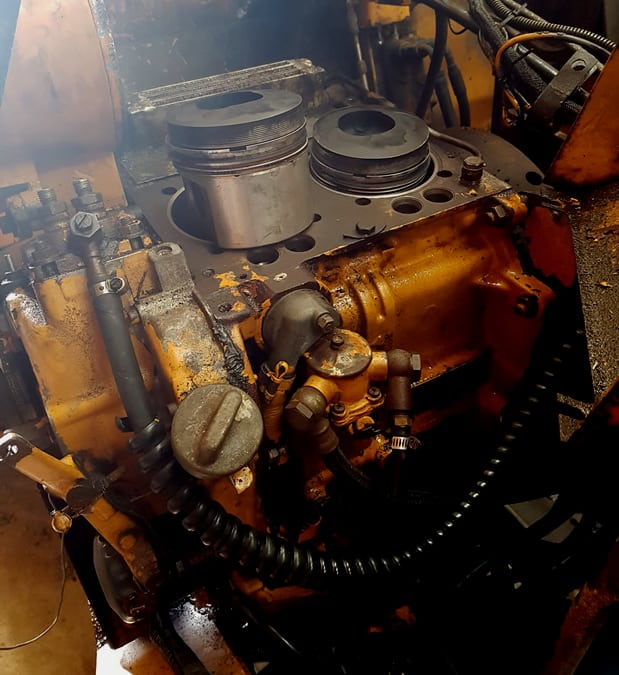 Deutz Diesel with head removed to find and fix an oil leak.